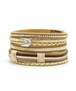 Bracelet  For Men Fashion Multilayer Charm Leather Vintage Feather Arrow... - $12.30