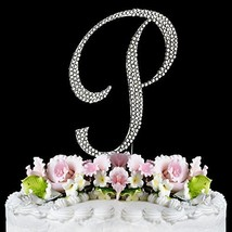 Monogram Cake Toppers Full Covered Sparkling Crystal Cake Toppers Silver... - $14.07