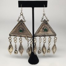 "5.4""x2.3"",49.3g, Vintage Afghan Turkmen Earring Tribal ATS Statement Boh... - $12.00"
