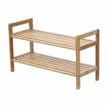 Bamboo Stackable Shoe Rack 2Tier Display Space Saver Compact NEW - £20.23 GBP