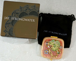 Jay Strongwater Compact Double Mirror Frog Lily Pad & Flowers In Box wit... - $119.95