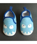 Baby Boy Emily and Oliver 3-9M Blue Shark Monster Crib Shoes Non-skid Slippers - $10.95