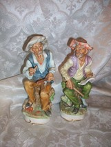 *DAMAGED* PORCELAIN BISQUE OLD MAN FIGURINES FARMER PEASANT MUSICIANS - $9.89