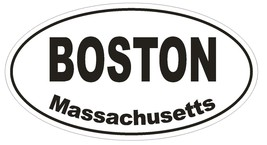 Boston Massachusetts Oval Bumper Sticker or Helmet Sticker D1376 Euro Oval - $1.39+