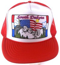 South Dakota Mount Rushmore Red White Mesh Trucker Snapback Cap Hat - $18.99