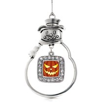 Inspired Silver Grinning Pumpkin Classic Snowman Holiday Decoration Christmas Tr - $14.69