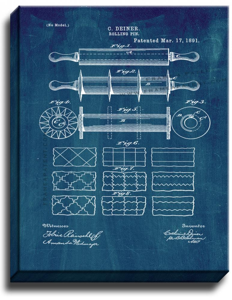 Primary image for Rolling Pin Patent Print Midnight Blue on Canvas