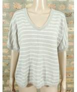 Ann Taylor LOFT Oatmeal Beige Taupe Metallic Stripe Oversized Pullover S... - $15.00
