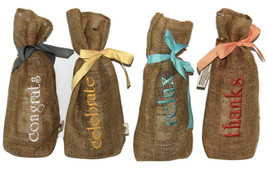 Wow! Embroidered Wine Gift Bags-Celebrate, Relax, Thanks & Congrats  Set... - $783,13 MXN
