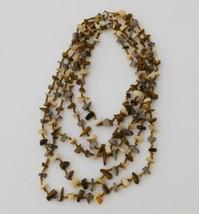 Vintage Japan Polished Shell & Stone Chip Necklace Multi Strand Japanese... - $12.82