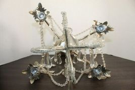 Dining Table Top Centerpiece Candle Holder Silver Chandelier Glass Tear Drops image 4