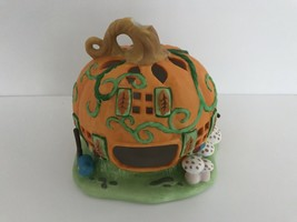 Partylite Ceramic Tealight Pumpkin Patch Candle Holder House - $14.95