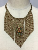 Goldtone Chainmaille Necklace with an Antique French Brooch - $325.00