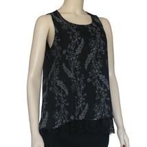 Worthington Georgette Lace Tank Top Size PM New Black Floral - $14.99