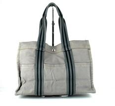 Authentic HERMES Paris Fourre Tout MM Gray Canvas 100% Cotton Tote Hand Bag - $107.91