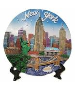 New York City Souvenir Plate with 3D Statue of Liberty, Empire State Bld... - $17.99