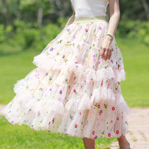 Champagne Tiered Tulle Skirt Outfit Floral Layered Tulle Skirt Princess Skirt image 1