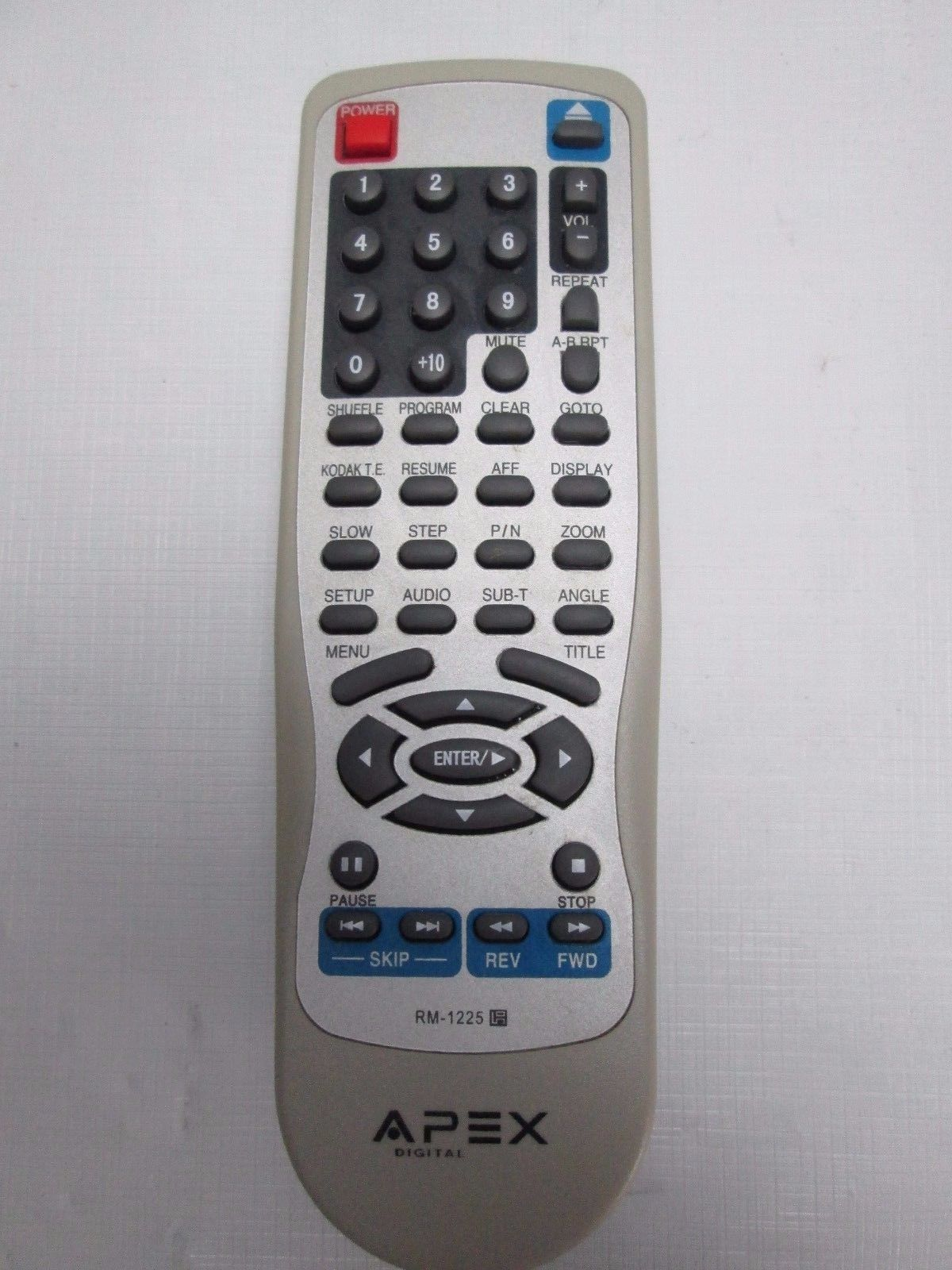 OEM Apex RM-1225 DVD Remote Control for DHX11000A TDB3000AR TDB3000 TESTED