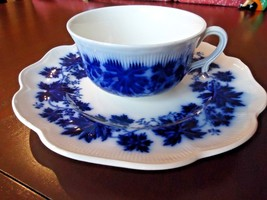 Gefle Vinranka Flow Blue Oversized Cup and Luncheon Plate Sweden - $34.65
