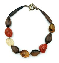 Vintage Shabby Chic Chunky Wood Lucite Faux Amber Stone HOBO Necklace - £12.90 GBP