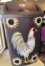 Country Cock of the Walk Rooster Sunflower Kitchen Trash Can - $69.00