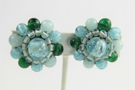 ESTATE VINTAGE Jewelry SIGNED VOGUE BLUE & GREEN ART GLASS BEAD CLIP EAR... - $25.00