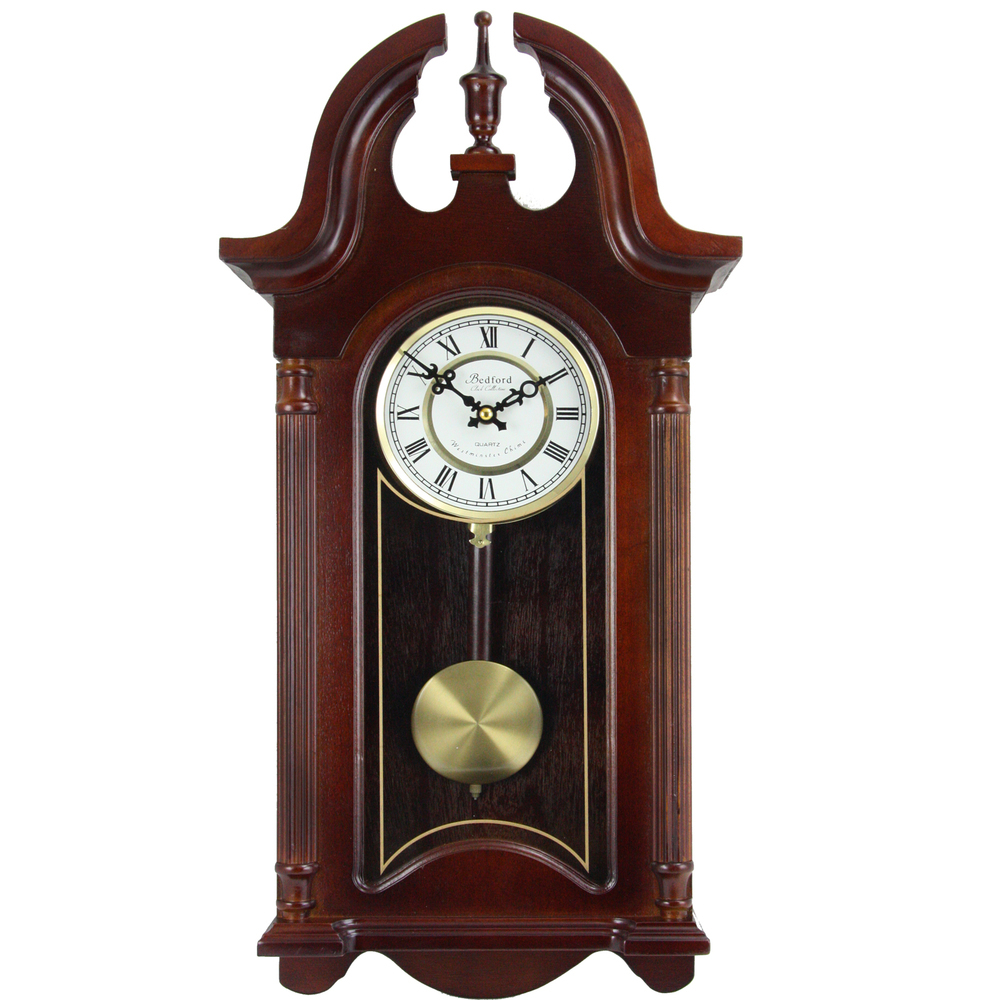 Primary image for Bedford Clock Collection 26.5 Inch Chiming Pendulum Wall Clock in Colonial Mahog