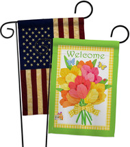 Welcome Flower Bouquet - Impressions Decorative USA Vintage - Applique Garden Fl - $30.97