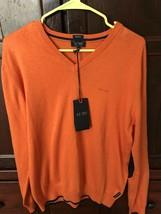 NWT Armani Jeans Sweater V Neck Pullover Arancio Orange Navy Trim Sz XL ... - $54.35