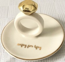 Ring Holder 'Wifey For Lifey' Gold/White, Jewelry Tray, Trinket Dish - $15.83