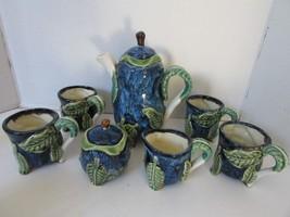 STUDIO CRAFTED GLAZED POTTERY COFFEE POT TEAPOT CREAMER SUGAR & 4 MUGS L... - $26.95