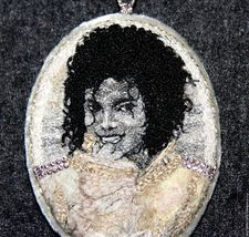 "Pendant portrait ""On stage is magic"". suspension. Handmade silk embroidery - $3,000.00"