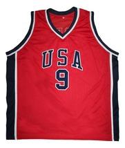 Michael Jordan #9 Team USA New Men Basketball Jersey Red Any Size image 4