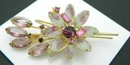 JULIANA D&E Gold Tone Pink Purple Pressed Glass Flower Pin Brooch Vintage - $123.75