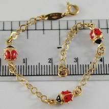 18K YELLOW GOLD GIRL BRACELET 5.90 GLAZED LADYBIRD LADYBUG ENAMEL, MADE IN ITALY image 1