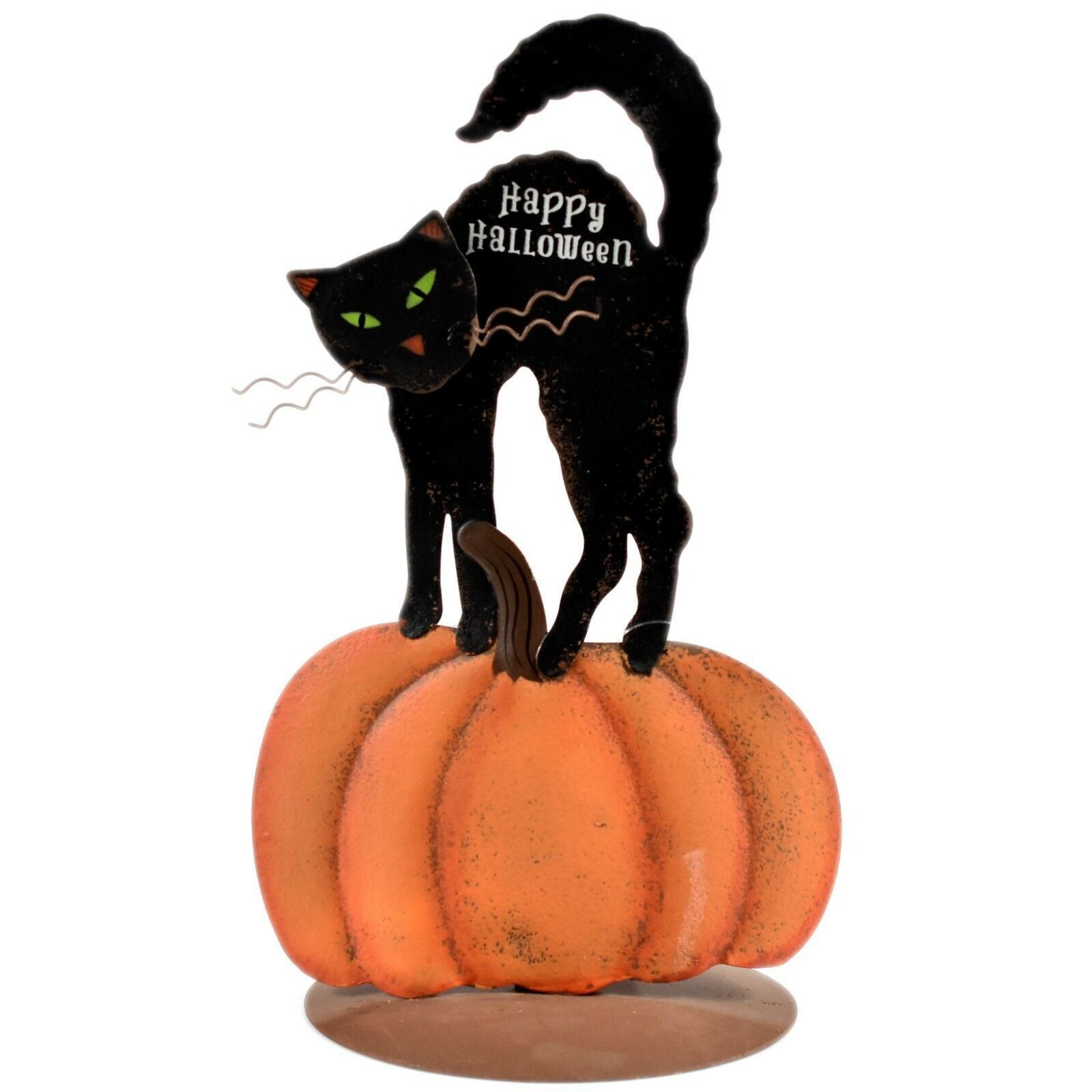 Black Cat Pumpkin Happy Halloween Tabletop Tealight Candle Holder