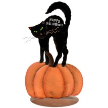 Black Cat Pumpkin Happy Halloween Tabletop Tealight Candle Holder image 1