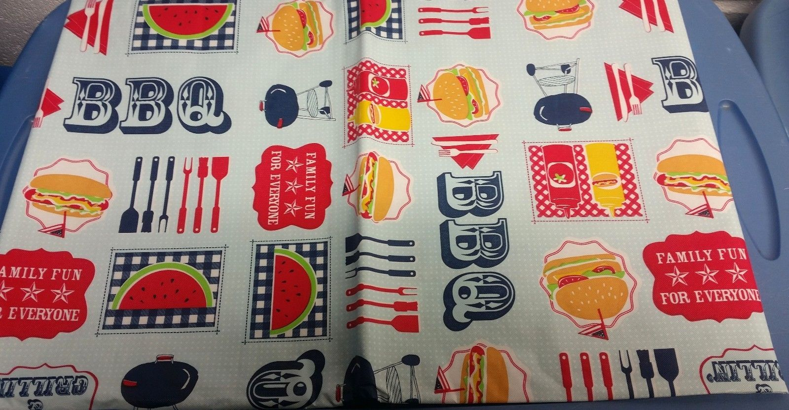 """FLANNEL BACK VINYL TABLECLOTH 52"""" x 70"""", BBQ, FAMILY FUN FOR EVERYONE by AP - $15.83"""