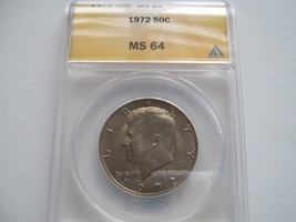 Kennedy Half Dollar , 1972 , MS 64 , ANACS Certified - $15.00
