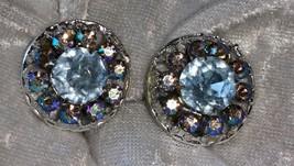 Vintage silver tone earrings Faux blue topaz pink & blue Aurora Borealis - $15.00