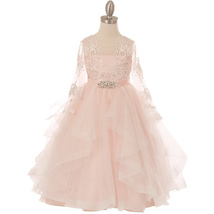 Pink Long Sleeve Lace Bodice Ruffled Skirt with Rhinestone Brooch Girl D... - £73.83 GBP
