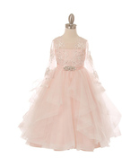 Pink Long Sleeve Lace Bodice Ruffled Skirt with Rhinestone Brooch Girl D... - $96.00