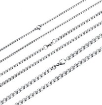3PCS Stainless Steel Rolo Chain Necklaces For Men Women Cable Wheat Link - £19.65 GBP