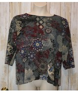 Womens Pretty Floral N Touch 3/4 Sleeve Shirt Size XL excellent - $7.91