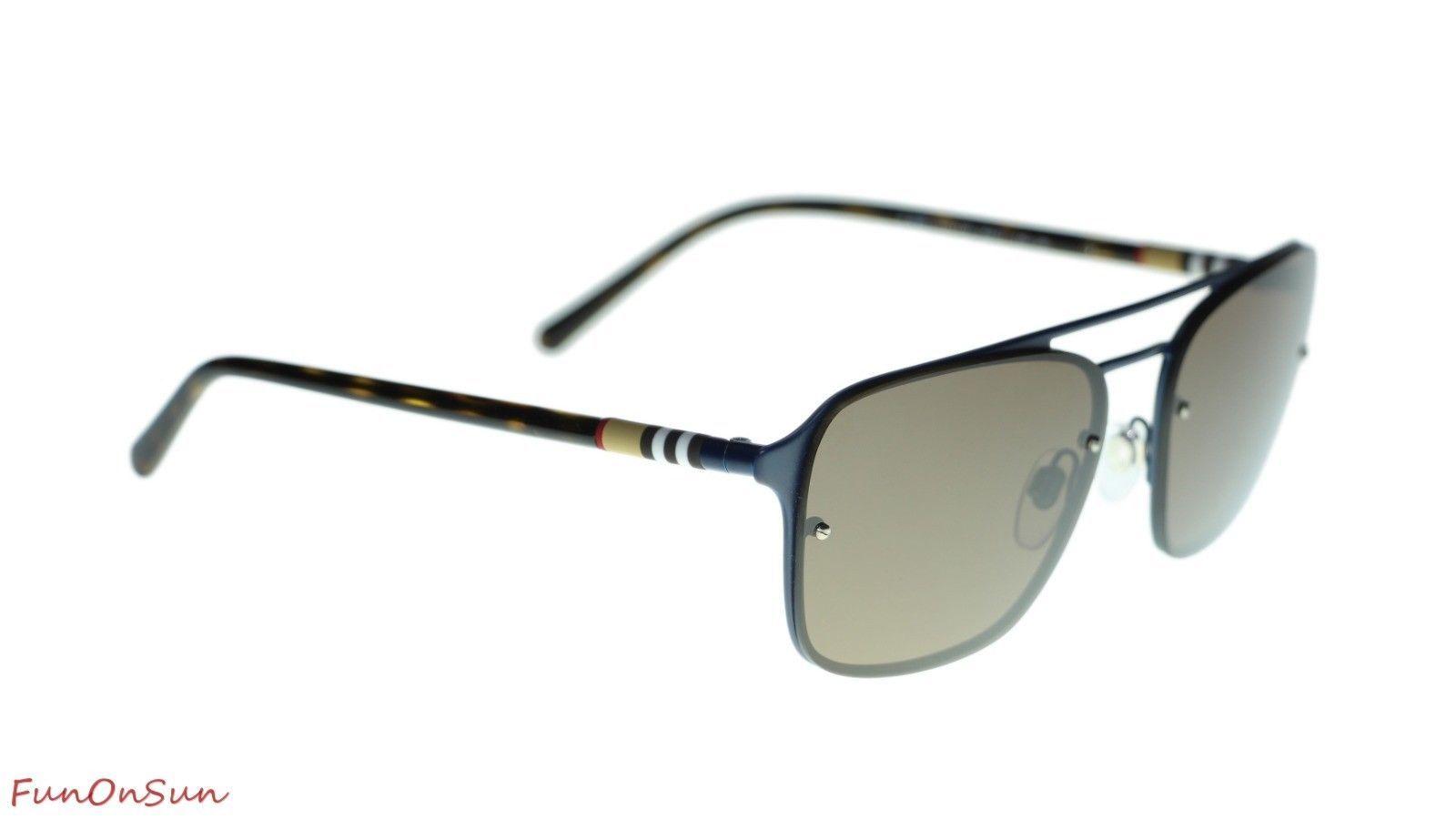 a0c7bb4c4214 Burberry Men Square Sunglasses BE3095 12615W Matte Blue/Brown Lens 56mm