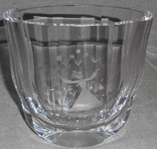 Vintage ORREFORS CRYSTAL Signed ETCHED VASE Girl w/Birds/Flowers SWEDEN - $23.75