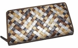 NEW ITALIE LEATHER WOMEN'S WOVEN ZIP AROUND CLUTCH WALLET METALLIC MULTI - £23.56 GBP