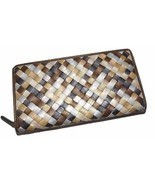 NEW ITALIE LEATHER WOMEN'S WOVEN ZIP AROUND CLUTCH WALLET METALLIC MULTI - £23.69 GBP
