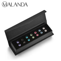MALANDA 7 Colors Earrings Set Crystal From Swarovski Round Earrings For ... - $25.34