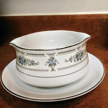 Vintage Japan Gravy Boat with attached plate made by Diane Pattern Wade Fine Por image 1